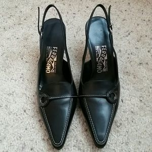 Salvatore Ferragamo Black Slingback Heels - 6.5
